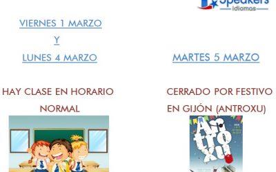 HORARIO DE CLASES (ANTROXU 1-5 MARZO)